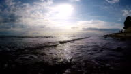 Seascape And Sun On Blue Sky Background video