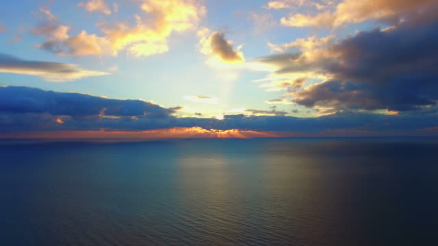 seascape on cloud background at sunset,  aerial video video