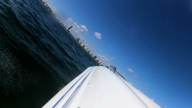 Seascape view from luxury motor vessel downtown Miami city, USA video