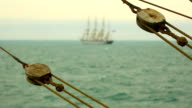 seascape with beautiful tall ship video