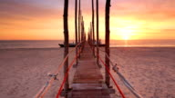 Seaside jetty at sunrise on Texel island, The Netherlands video