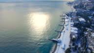 AERIAL: Seaside resort town in the winter season video
