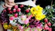 Seasonal colorful bouquet of beautiful flowers. video