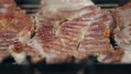 Seasoned grilled pork close up. video