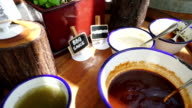 seasoning sauce on table video
