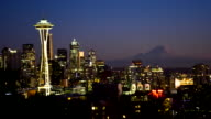 Seattle cityscape  time lapse at sunset video