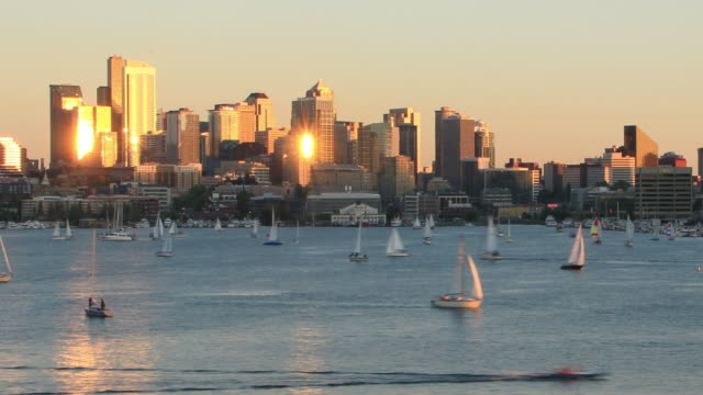 Seattle Cityscape Time Lapse Sunset Zoom video