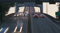 Seattle Highway 520 Traffic Time Lapse Bridge Sunset Pan -HD-NTSC-PAL video