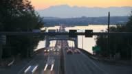 Seattle Highway 520 Traffic Time Lapse Bridge Sunset video