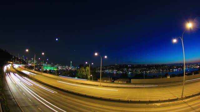 Seattle I-5 Traffic Time Lapse Dusk Fisheye video