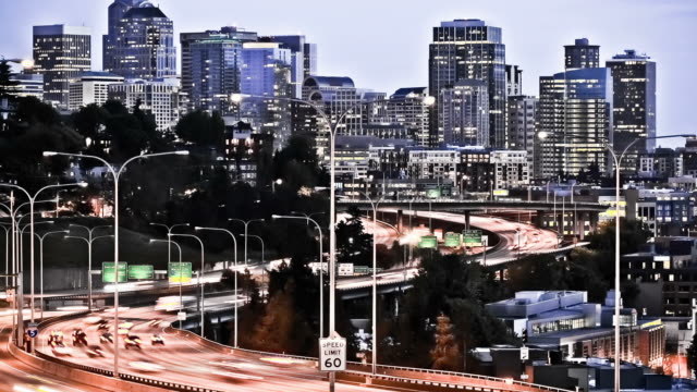 Seattle I-5 Traffic Time Lapse Effect video
