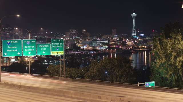 Seattle I-5 Traffic Time Lapse Night video