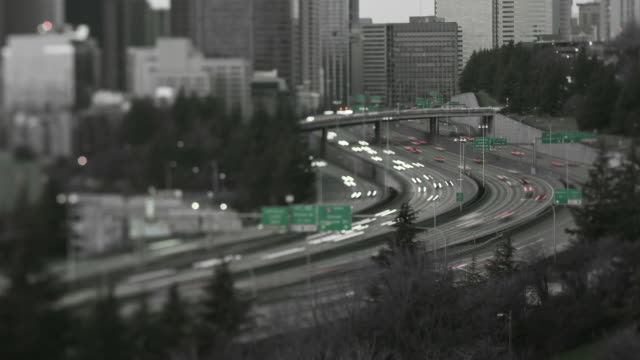 Seattle I-5 Traffic Time Lapse Tilt Shift video