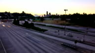 Seattle I-90 Traffic Time Lapse Sunset Zoom video