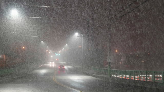 Seattle, WA 2-2-17: Hazardous Heavy Snowfall at Night with Cars Driving in Dangerous Bad Weather video