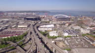 Seattle, WA 4-20-16: Aerial of Safeco Field with Century Link Stadium video