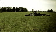 Second world war battle reconstruction. Soldiers, bomb explosion, weapon sound video