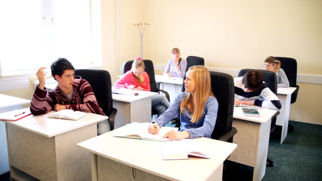 Secondary students discussing in classroom. video