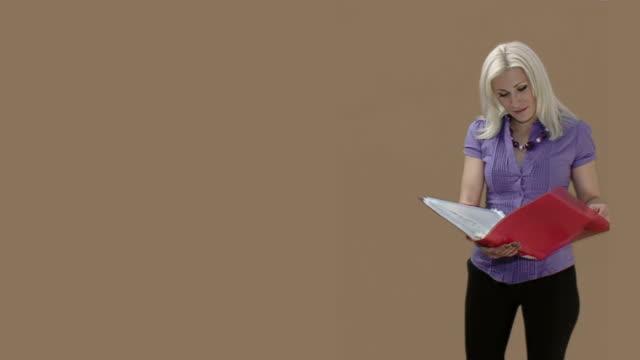 Secretary girl with document folder video