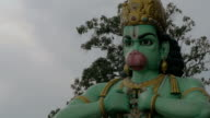 Seen head with hands of statue of Hanuman at Batu Caves, Malaysia video
