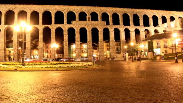 Segovia aqueduct time lapse HD video