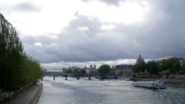 Seine river with cloudy sky video