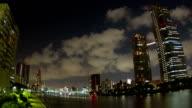 Seiroka tower and kachidoki bridge nightscape time lapse video