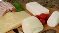 Selection of Cheeses on a cheese board video