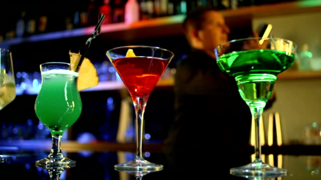 HD DOLLY: Selection Of Cocktails On A Bar Counter video