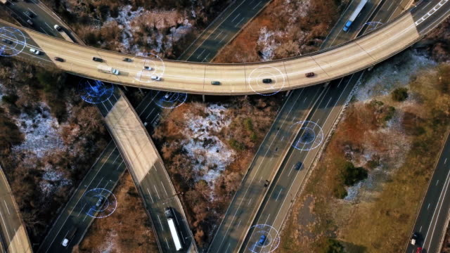 Self Driving Autopilot Autonomous Cars on Highway 4K video