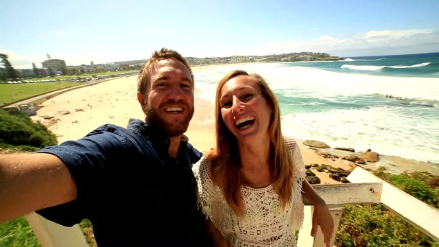 Self portrait of young couple at bondi beach, Australia video