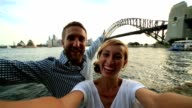 Self portrait of young couple with sydney skyline video