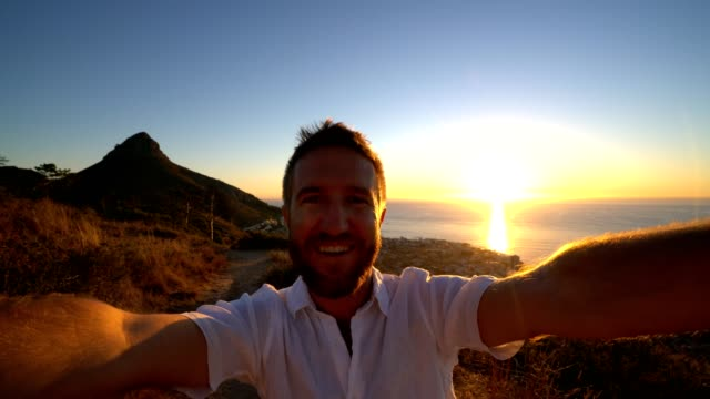 Self portrait of young man in Cape Town at sunset video