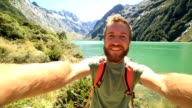 Selfie at lake Marian in New Zealand video