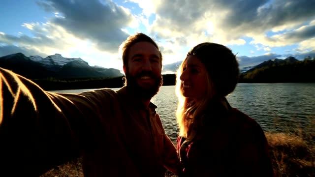 Selfie by gorgeous mountain lake video