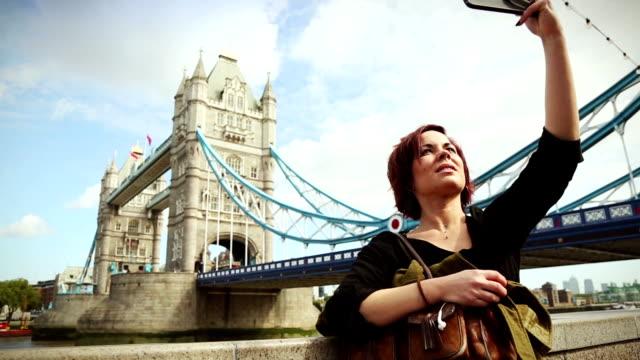 Selfie by the Tower Bridge in London video