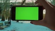 Selfie Green screen Chroma key Park sunset Female One Person video