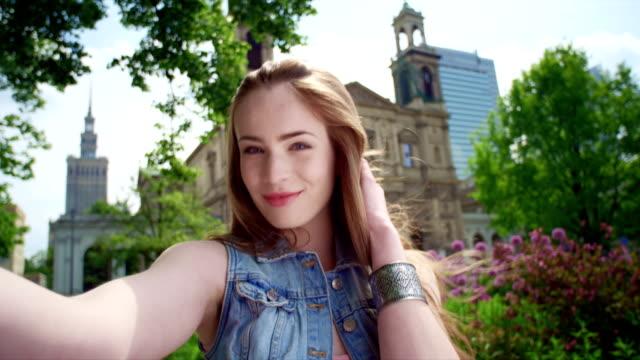 Selfie photo in city video