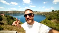 selfie portrait at Blue lake, South Australia video