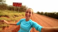 Selfie portrait of a young woman in the Australian outback video