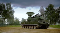 Self-propelled anti-aircraft vehicle on dirt road video