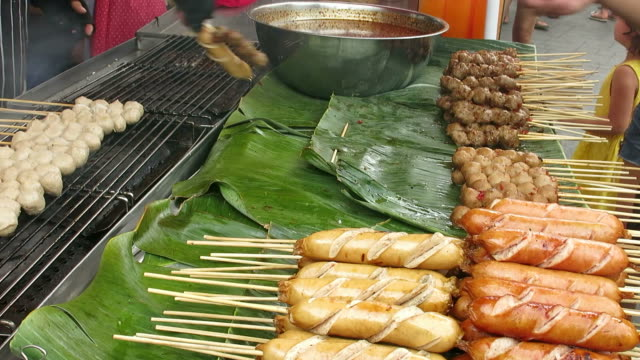Selling grilled meat balls and sausages video