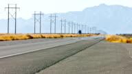 Semi Truck on desert freeway video