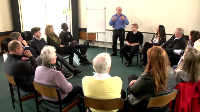 Seminar with Lecturer talking to people - CRANE HD video