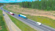AERIAL: Semi-Trailer Truck Driving On The Road video