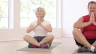 Senior Adult Couple Sit in Prayer Pose on Yoga Mats video