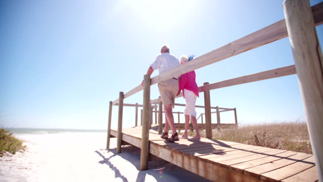 Senior adult retired couple holding hands at the beach video