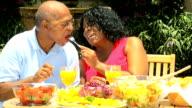 Senior African American Couple Enjoying Healthy Meal video