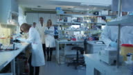 Senior and female scientists with papers are walking and having a conversation in a laboratory. video