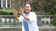 Senior Asian woman practicing tai chi in the park video